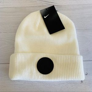Nike Air Beanie Hat Cap Waffle Knit Leather Patch